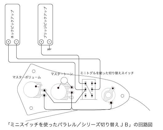 スイッチを装備したジャズベース回路